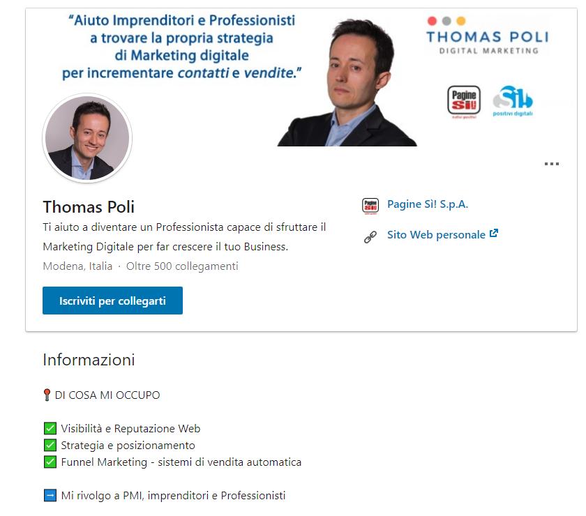 Thomas Poli digital Marketing Modena - 7 consigli per avere successo e vendere su Linkedin